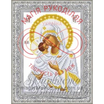 Схема для вишивання бісером ікона атлас А4 - ТО-039 Володимирська Божа Матір (вінчальна ікона)