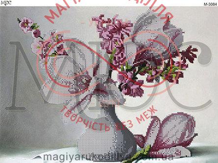 Схема для вишивання бісером картина габардин А3 - МЮС М-3084 Чарівні магнолії