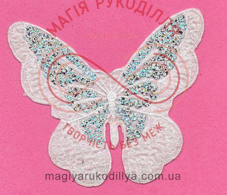 Термоаплікація 4,8см*12,3см*5,9см - метелик з паєтками білий