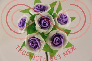 Бутон'єрка троянда акрилова на ніжці d3смh10см(гілочка) - біло-бузковий