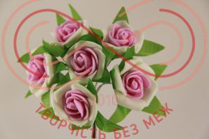 Бутон'єрка троянда акрилова на ніжці d3смh10см(гілочка) - біло-рожевий