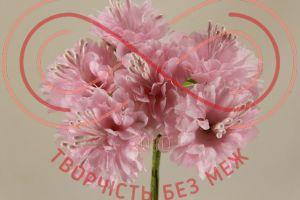 Бутон'єрка хризантема тканинна на ніжці d3.5смh11см(гілочка) - рожевий