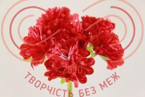 Бутон'єрка хризантема тканинна на ніжці d3.5смh11см(гілочка) - червоний