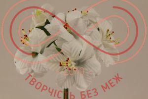 Бутон'єрка жасмін тканинна на ніжці d4смh10см(гілочка) - білий