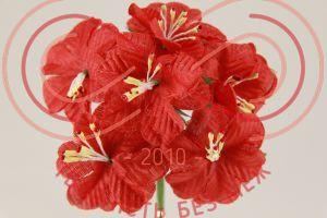 Бутон'єрка жасмін тканинна на ніжці d4смh10см(гілочка) - червоний
