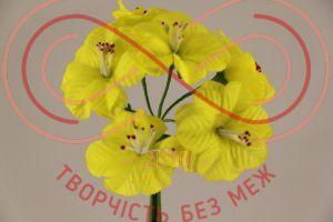 Бутон'єрка жасмін тканинна на ніжці d4смh10см(гілочка) - лимонний