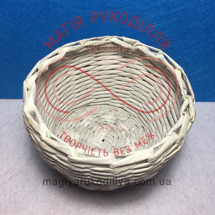 Кошик паперовий декоративний d верхній 12см; d нижній 9см; h9,5см - білий