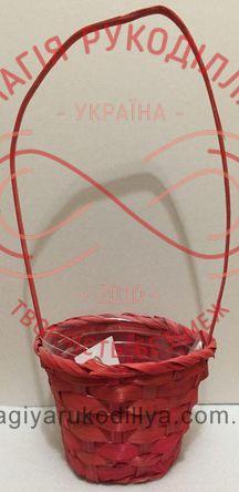 Кошик плетений з ручкою d верхній 13см; d нижній 8,5см; h10см - рожевий
