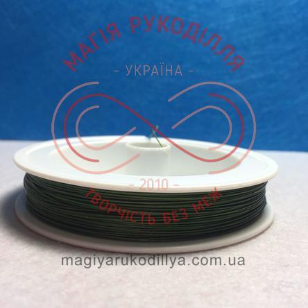 Біжутерна металізована нитка d0,45мм/100м - зелений