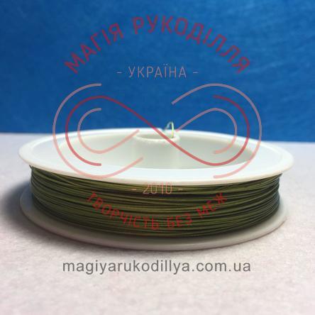 Біжутерна металізована нитка d0,45мм/100м - салатовий