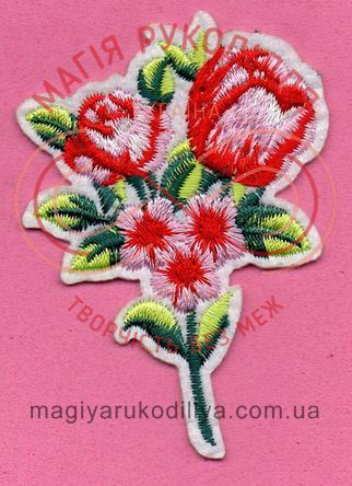 Термоаплікація 6,2см*9,5см - букет квітів рожево-червоний