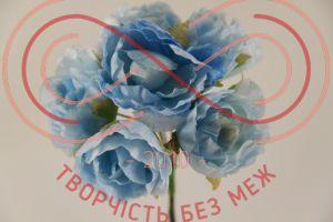 Бутон'єрка півонія тканинна на ніжці d3,2смh7,5см(гілочка) - блакитний