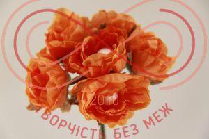Бутон'єрка півонія тканинна на ніжці d3,2смh7,5см(гілочка) - помаранчевий