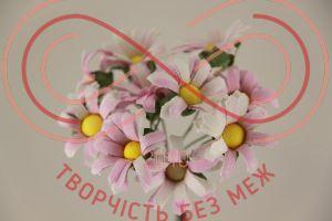 Бутон'єрка ромашка двокольорова тканинна на ніжці d2,5смh6,5см(гілочка) - біло-рожевий