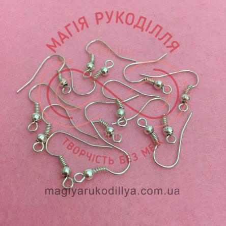 Основа-швенза для сережки сталь з кулею 1,7см*1см - сріблястий