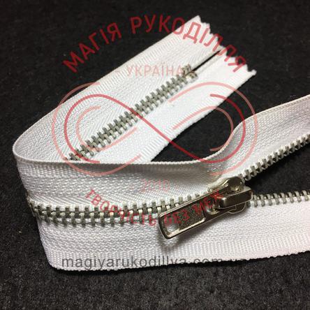 Блискавка джинсова (Китай) 18см (тип 5) - білий/бігунок сріблястий