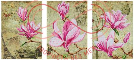 Схема для вишивання бісером картина габардин триптих - DANA-48 Цвіт магнолій