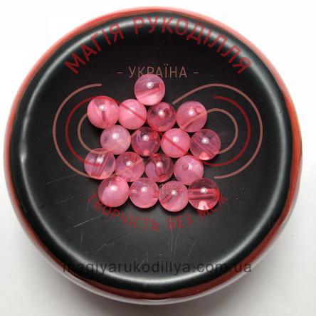 Намистинки вагові d8мм - рожевий прозорий двокольоровий