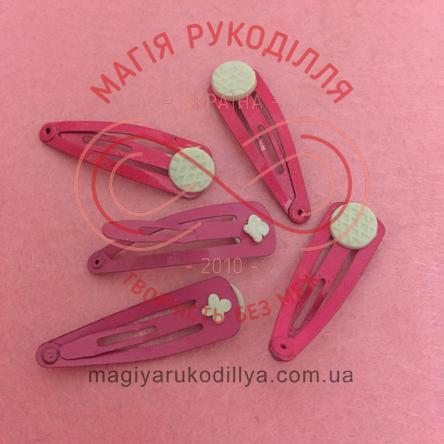Основа для заколки-тік-так з липучкою 3,5см - рожевий