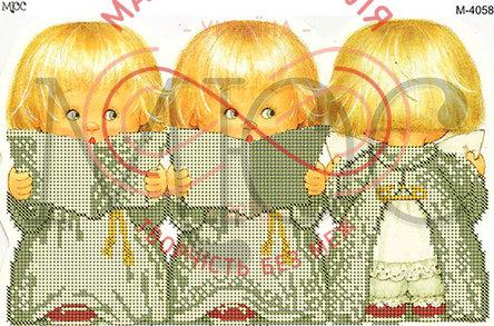 Схема для вишивання бісером картина габардин А4 - МЮС М-4058 Ангелята