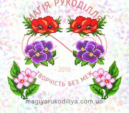 Водорозчинний пришивний флізелін - К-225 Квіткова клумба