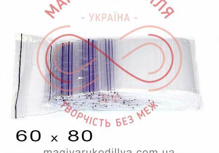 Пакети струна із замком zip-lock 60мм*80мм (упаковка 100шт) - прозорі