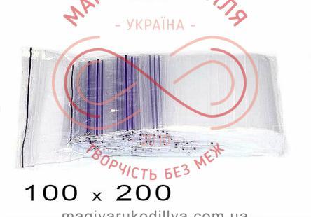 Пакети струна із замком zip-lock 100мм*200мм (упаковка 100шт) - прозорі