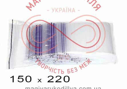 Пакети струна із замком zip-lock 150мм*220мм (упаковка 100шт) - прозорі