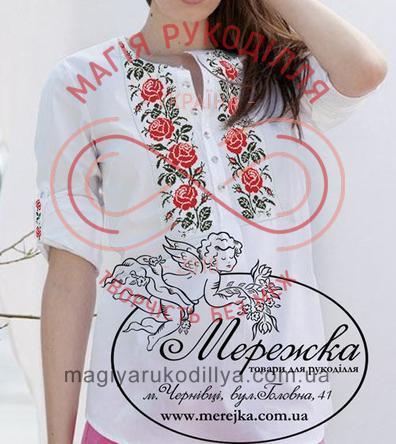 Схема паперова для вишивання хрестиком сорочка жіноча - 12-46 Червоні троянди