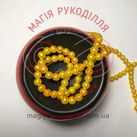 Намистинки на нитці Китай d6мм/160шт. - жовтий перлистий