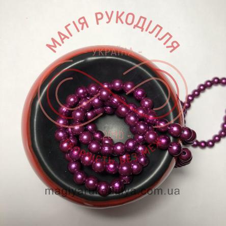 Намистинки на нитці Китай d6мм/160шт. - фіолетовий перлистий