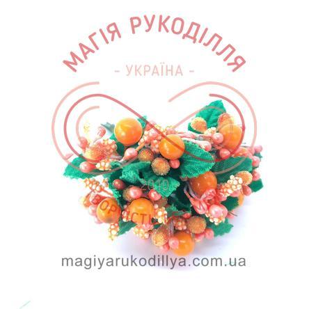 Тичинки з ягідками комбіновані на дротику d4-6мм h6см 1в'язочка/12шт - помаранчевий перлистий