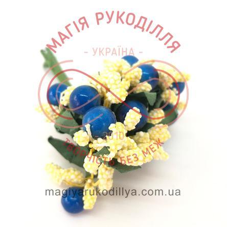 Тичинки з ягідками комбіновані на дротику d8-10мм h6см 1в'язочка/12шт - жовто-блакитний