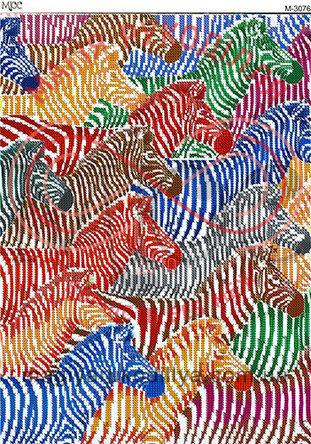 Схема для вишивання бісером картина габардин А3 - МЮС М-3076 Веселкові зебри