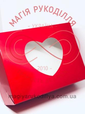 Кондитерська/подарункова коробка 6 кексів з віконечком серденько 180*240*90 - червоний