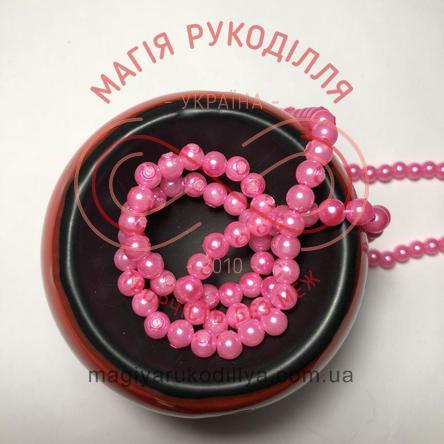 Намистинки на нитці Китай d6мм/160шт. - рожевий перлистий