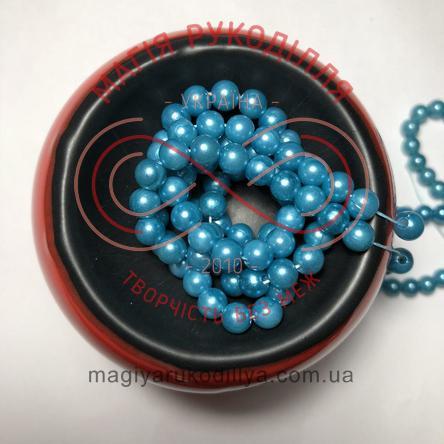 Намистинки на нитці Китай d6мм/160шт. - темний блакитний перлистий