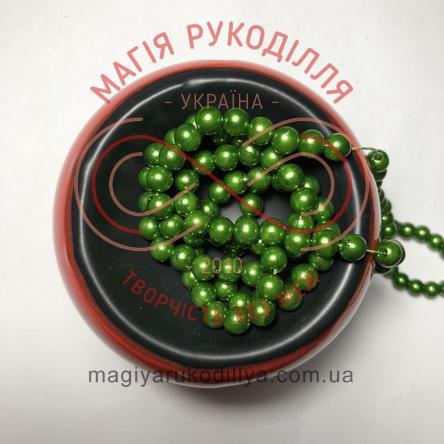 Намистинки на нитці Китай d6мм/160шт. - зелений перлистий