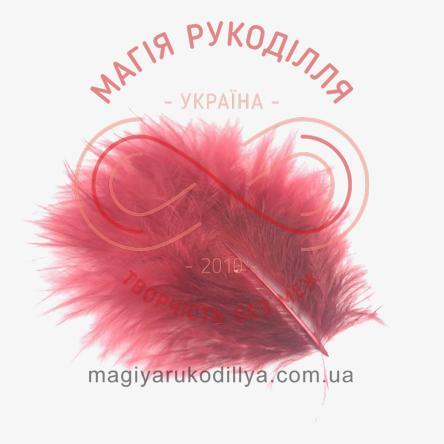 Пір'їнка марабу 80-100мм - винно-червоний
