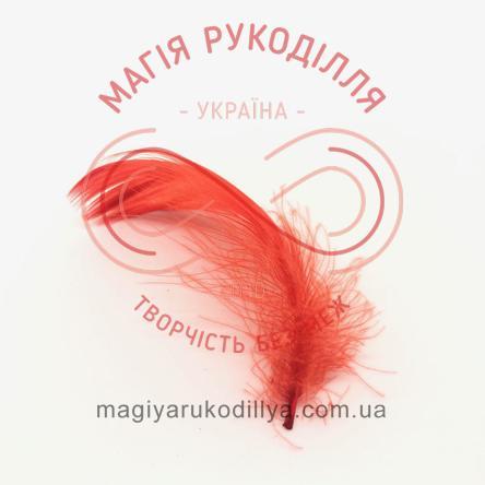 Пір'їнки марабу 20-100мм 1упаковка/10шт - червоний яскравий