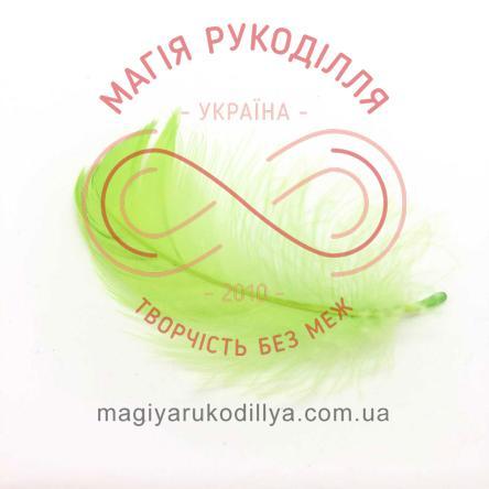 Пір'їнки марабу 20-100мм 1упаковка/10шт - салатовий яскравий