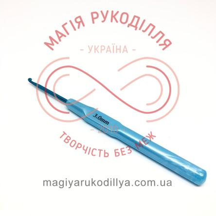 Гачок для в'язання метал з ручкою h14см d3,0 - ручка потовщена кольорова