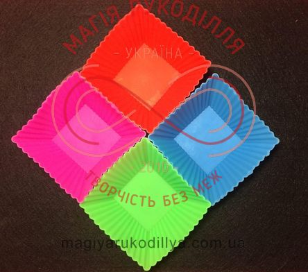 Кондитерські силіконові форми для кексиків 12шт/набір - квадратні