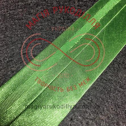 Коса бейка атласна 15мм (Китай) - зелений