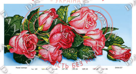 Схема для вишивання бісером картина габардин панно - DANA-537 Рожеві троянди
