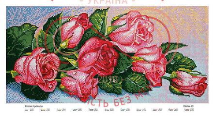 Схема для вишивання бісером картина габардин панно - DANA-59 Рожеві троянди