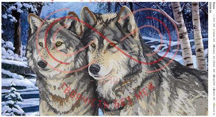 Схема для вишивання бісером картина габардин панно - DANA-54 Вовки