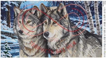 Схема для вишивання бісером картина габардин панно - DANA-53 Вовки