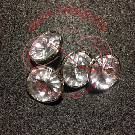 Пуговицу костюмный на ножке d32L / 20мм - прозрачный металлизированный