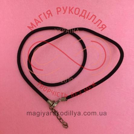 Основа для кольє шнур велюровий із карабіном d45см товщина 3мм - чорний